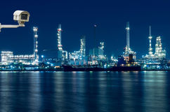 Security Camera Monitoring The Oil And Gas Refinery At Twilight Royalty Free Stock Photos