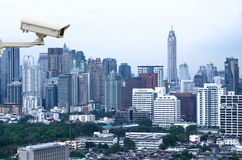 Security camera monitoring the traffic movement on top view of c Stock Images