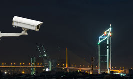 Security camera monitoring the traffic movement on top view of c Royalty Free Stock Image