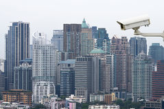 Security camera monitoring the traffice movement on top view of Stock Photos