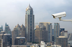 Security camera monitoring the traffice movement on top view of Royalty Free Stock Photos
