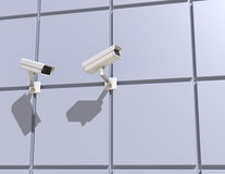 Security Camera Mounted on the Facade of the Building Stock Image