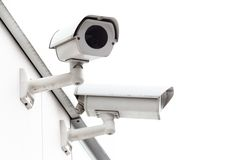 Security camera mounted on wall. Royalty Free Stock Photography