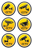 Security camera pictogram, set CCTV round signs