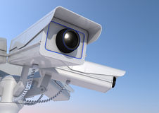 Security camera on a pole Royalty Free Stock Photo