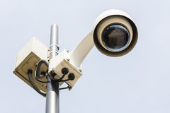 Security camera on a pole set to the observations. Stock Photo
