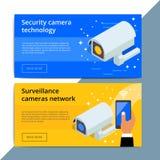 Security camera promo web banner ad. Video surveillance equipmen Stock Photos