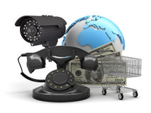 Security camera, rotary phone, shopping cart and dollar bills Stock Photos