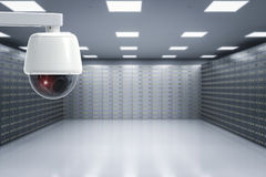 Security camera in safe deposit boxes room stock image