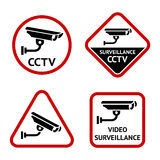 Security camera, set sticky labels Royalty Free Stock Images