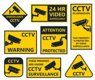 Cctv sign, security camera stickers Stock Images