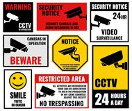 Security camera signs, cctv stickers Royalty Free Stock Photo
