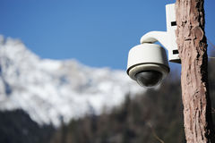 Security camera with snow mountain Stock Photography