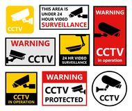 Security camera sticker, video surveillance symbols, cctv icons Stock Photo