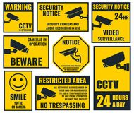 Security camera sticker, video surveillance symbols, cctv icons Stock Photos