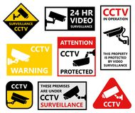 Video surveillance symbols, security camera icons, cctv sticker Stock Photo