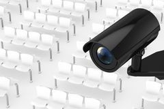 Security Camera System in Airport, Bus or Railway Station. 3d Re. Security Camera System in Airport, Bus or Railway Station extreme closeup . 3d Rendering Stock Images