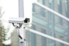 Security camera system guarding business building Royalty Free Stock Photo