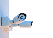 Security camera. Two security camera monitoring area Stock Images