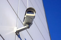 Security camera under sky. Security camera under blue sky Stock Photos