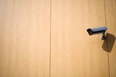 Security camera on wall outside Royalty Free Stock Image