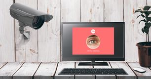 Security camera watching laptop identity App Interface stock photography