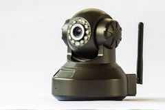 Security camera on white background. IP Camera. Stock Photo