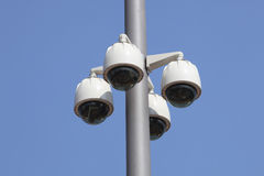 Security cameras. A security camera is on a red ceiling Royalty Free Stock Photos
