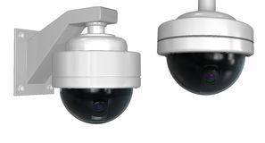 Security cameras. Isolated on white with clipping paths Stock Photography