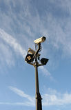 Security Cameras. Surveillance equipment at a UN building stock photo