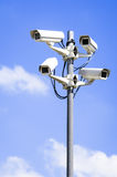 Security cameras. In front of blue sky - with space for text Royalty Free Stock Photography