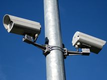 Security cameras. Two security cameras on the metallic pipe Stock Images
