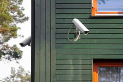 Security cameras on the building walls Stock Photo