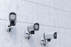 Security cameras with copyspace top Stock Image