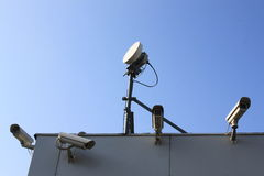 Security cameras. In different angles and GSM antenna Stock Image