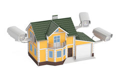 Security cameras on the house, 3D rendering. On white background Stock Photos