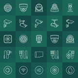 Security cameras icons set vector illustration