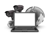 Security cameras, laptop and earth globe Royalty Free Stock Images