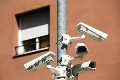 Security cameras on a main avenue in barcelona Royalty Free Stock Image