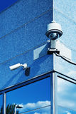 Security Cameras in a Modern Building Royalty Free Stock Images