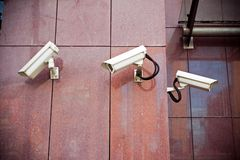 Security cameras on office building Royalty Free Stock Images