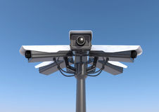 6 security cameras on a pole Stock Photography