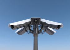 6 security cameras on a pole Royalty Free Stock Photo