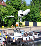 Security cameras in the port of Stock Image