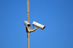Security Cameras. Surveillance Cameras guarding a car park in Spain Stock Photography