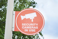 Security Cameras in Use Sign Stock Photos