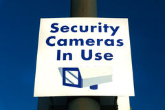 Security Cameras in Use Sign Royalty Free Stock Images