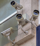Security cameras on the wall Royalty Free Stock Photos