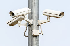 Security Cameras on White Background Stock Image