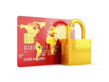 Security card. 3d render of credit card with golden lock Royalty Free Stock Photography